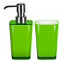 Contemporary bathroom accessories with flared modern design in orange, red, white, green and blue