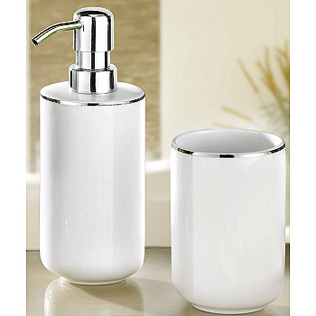 White And Silver Bathroom Accessories Of Luxury Porcelain Bath Accessories  White With Silver Accents