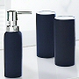 Non slip porcelain bath accessory set in black, anthracite grey and dark blue