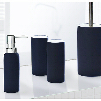 Non slip porcelain bathroom accessories matching tumbler for Navy bathroom accessory sets