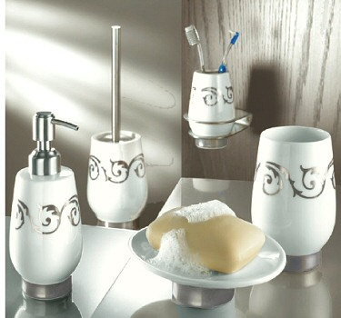 Viva silver white porcelain tumblers toothbrush holders for Bathroom accessories silver