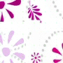 luxury fabric shower curtain with pink, purple and grey retro flower design