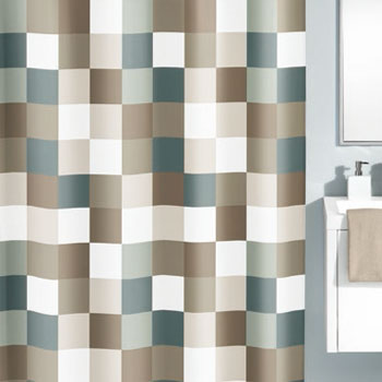 Check Textile Shower Curtain Curtains