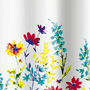 fabric no liner needed shower curtain, multi color flowers on white background