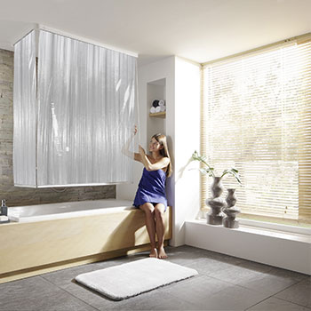 Corner Shower Roller Blind Set Curtains Product Photo