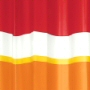 non toxic peva bathroom shower curtain with horizontal stripes in ruby red and orange