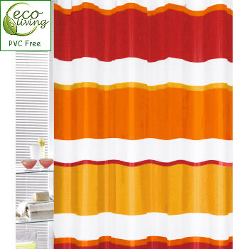 Linea Horizontal Lines Peva Ruby Shower Curtain