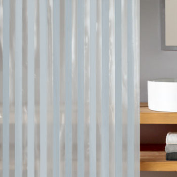 Noa White And Clear Striped Peva Pvc Free Bathroom