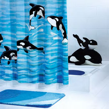 Whale (Orca) PVC-Free Shower Curtain Shower Curtains product photo