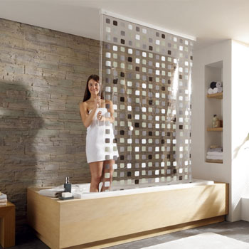 Shower Roller Blind 2 Shower Curtains