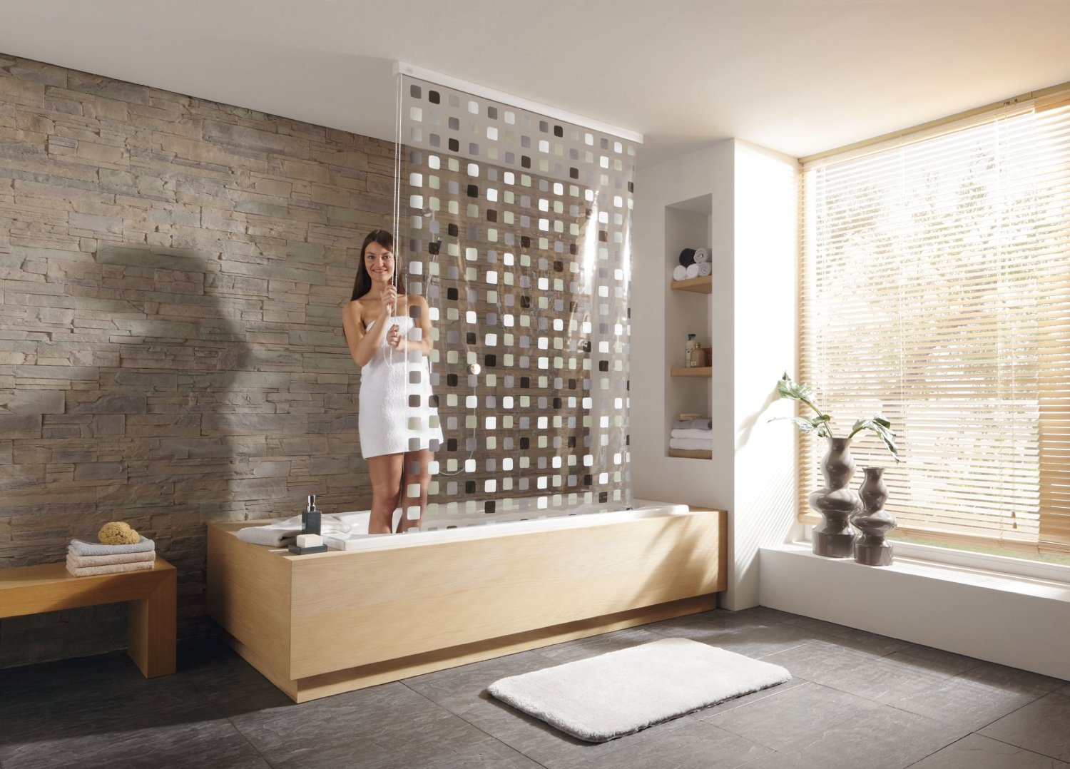 Shower Roller Blind 2 Shower Curtains product photo