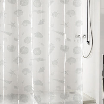 childrens peva shower curtain clear seashell