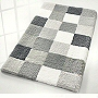 checker patterned bath mats with dense soft pile in flannel grey, toffee, blue, purple, ruby red and black and grey