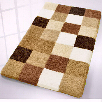 Caro checker pattern rich multi color plush bathroom rug for Chocolate brown bathroom rugs