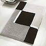 contemporary medium pile bath mat in grey, blue, toffee, lavender and ruby red
