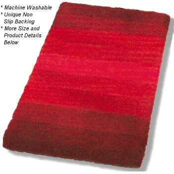 Palace : Striped Plush Bathroom Rug in Orange, Blue or Red