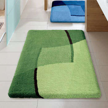 Ravenna Bath Rugs - Turquoise and brown bathroom rugs for bathroom decorating ideas