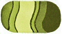 oval bath rug in a range of yellow green colors