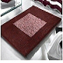 striped contemporary bath rug in burgundy