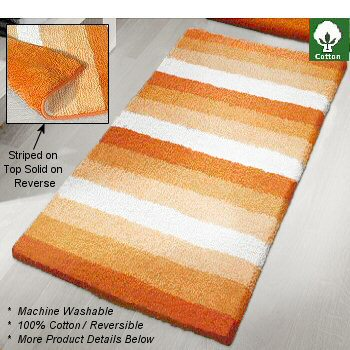 Unique Reversible Cotton Bath Rug Striped And Solid Color
