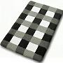 checker pattern plush bathroom in slate grey