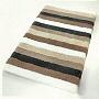 plush striped multi color bath rug in beige, orange, blue or green
