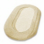 oval bathroom rug with beautiful sculpted pile in palm green, pink, azure blue, peach and beige