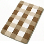 checker pattern plush bathroom in spa colors of taupe, blue or slate grey