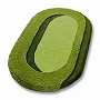 oval bathroom rug with beautiful sculpted pile in palm green, pink, peach and beige