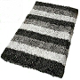 modern shag bath rug with unique striped design available in slate grey, taupe and pacific blue